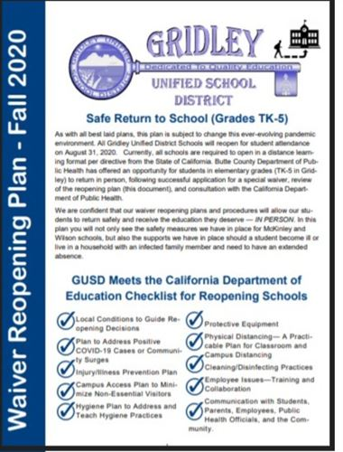Cover of GUSD Waiver Reopening Plan for Elementary 2020